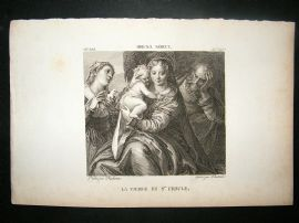 After Brusa Sorci C1810 Antique Print. La Vierge et Ste Ursule
